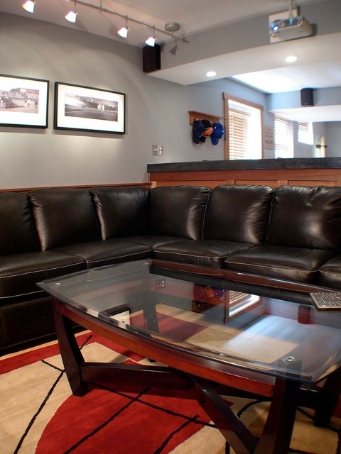 Sophisticated Man Cave traditional-basement