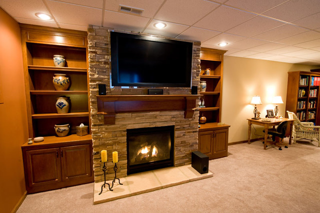 Southwestern Style Basement Finish - Contemporary - Basement - st ...