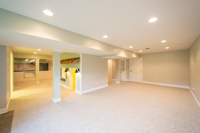 Sports themed finished basement for Modern finished basements