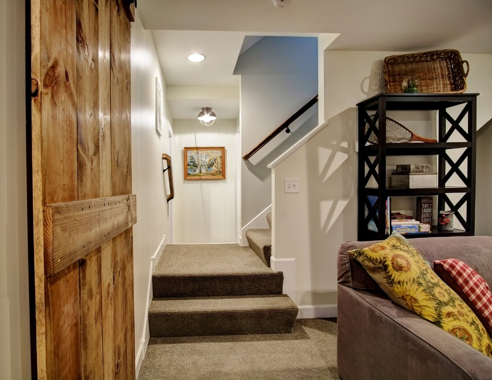Example of a country basement design in Minneapolis