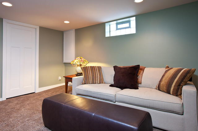 St paul center hall colonial contemporary basement for Paint ideas for basement family room