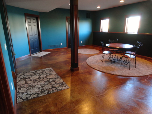 Stained Concrete Basement Traditional Basement