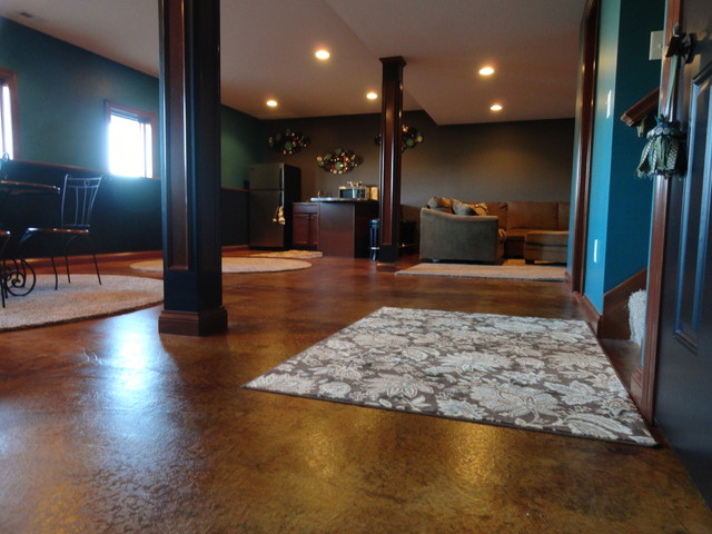 stained concrete basement traditional basement indianapolis by