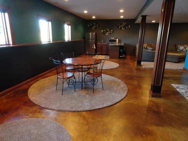 Stained Concrete Basement - traditional - basement - indianapolis ...
