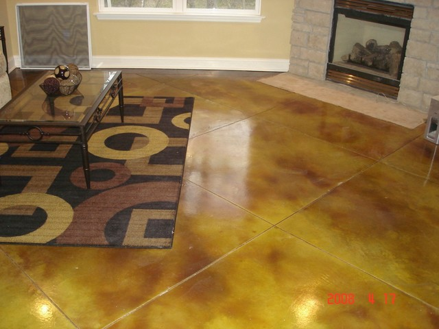 stained concrete flooring traditional basement st louis by