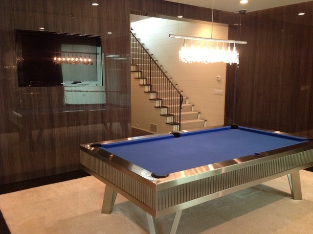 stainless steel pool tables by mitchell pool tables contemporary basement