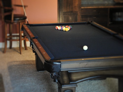 What Kind Of Pool Table Is That? I Like The Black Felt And Dark Wood