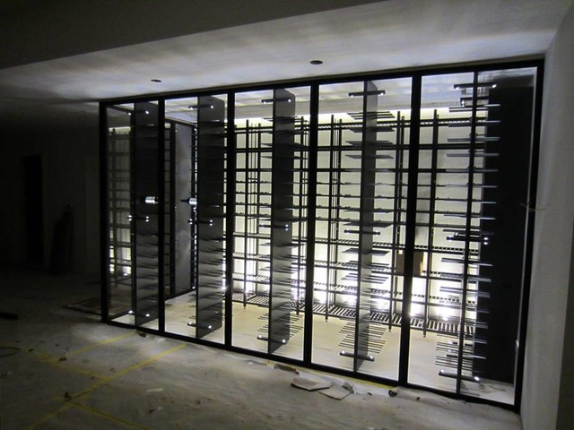 steel glass wine cellar contemporary basement other metro by degre 12 custom wine. Black Bedroom Furniture Sets. Home Design Ideas