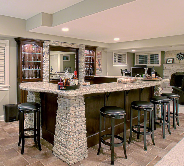 Stone Bar Contemporary Basement