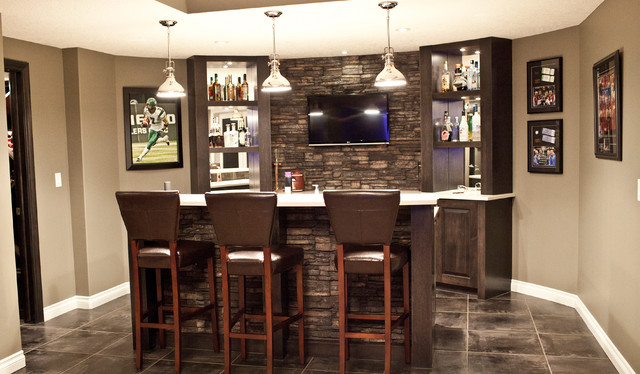 Stone basement wetbar and dark wood cabinetry for Basement bar san diego