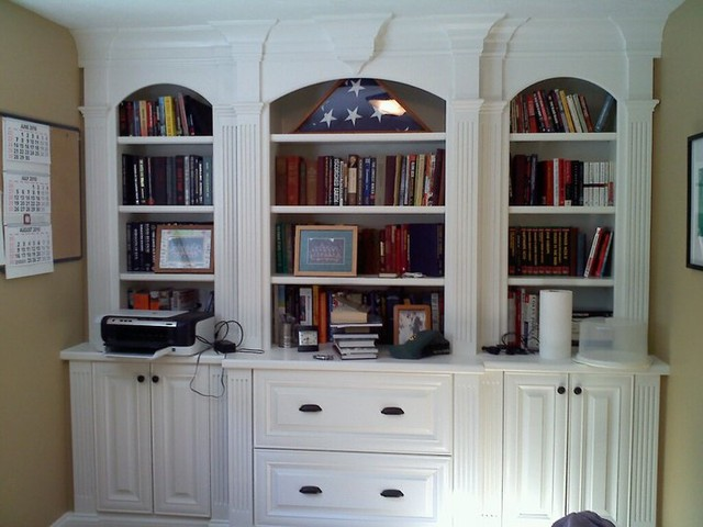 Study home office built ins traditional basement Study room wall cabinets