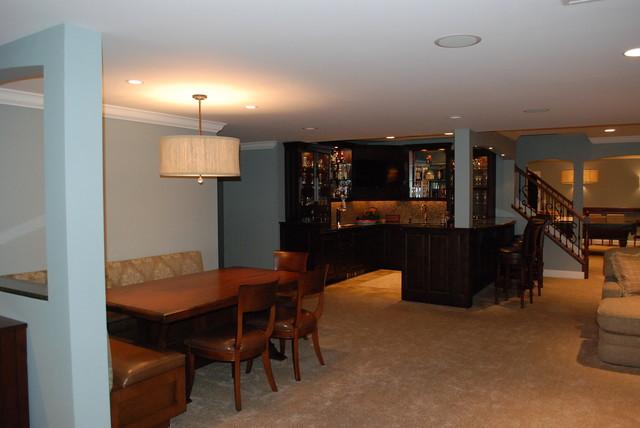 Suburban Chicago Basement traditional-basement