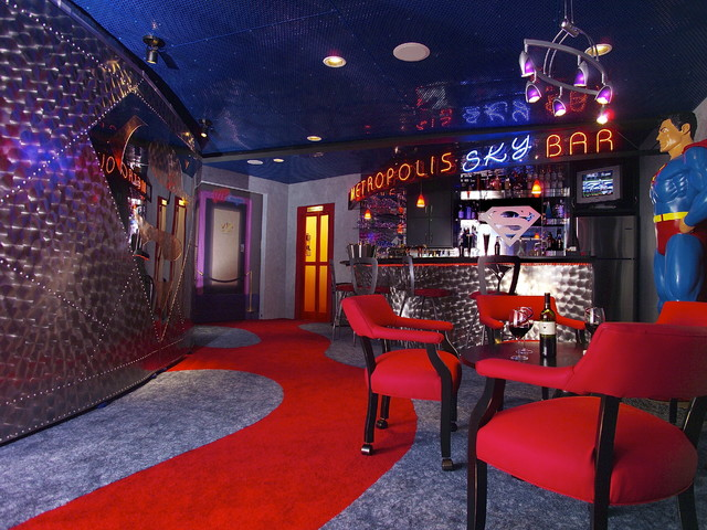 Superhero themed basement contemporary basement