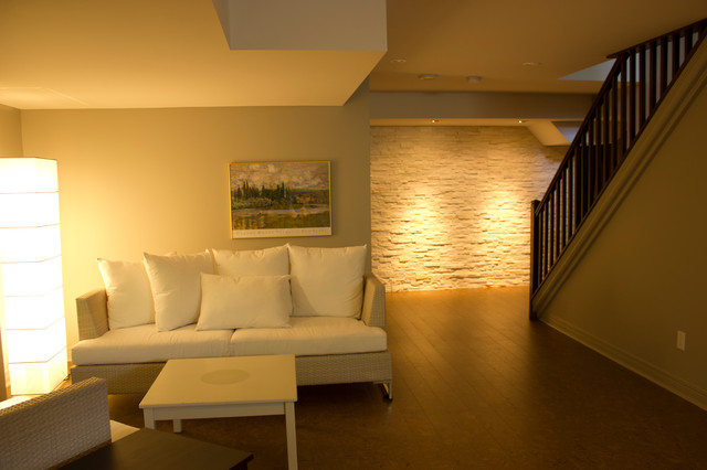 contemporary basement by OakWood Renovation Experts