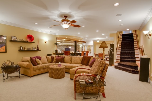 Texas road house traditional basement louisville for Houses with basements in texas