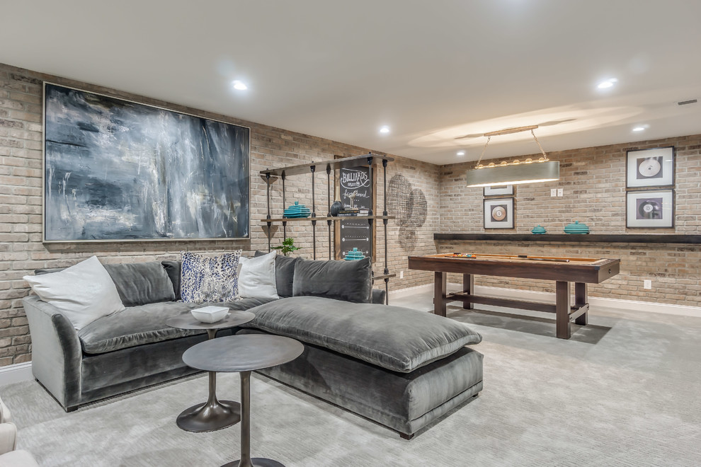 Example of a transitional carpeted and gray floor basement design in Philadelphia