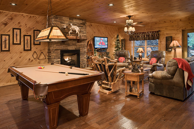 The Retreat Rustic Basement Charlotte By Log Homes Of America