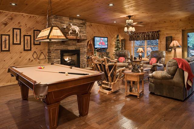 the retreat rustic basement charlotte by log homes of america