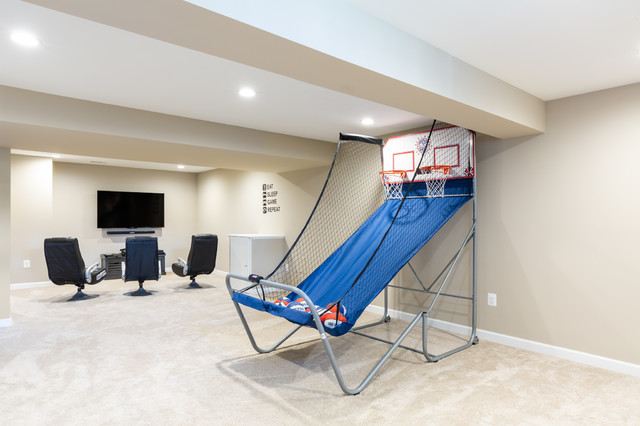 the ultimate man cave  gaming area - contemporary - basement - dc metro