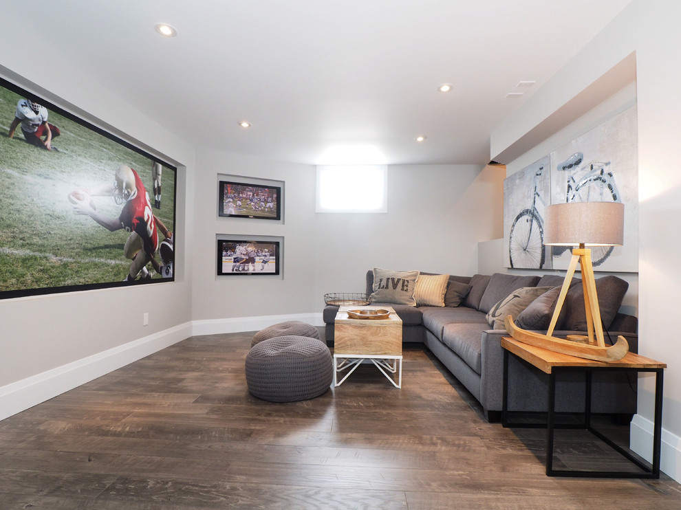 Inspiration for a transitional look-out dark wood floor basement remodel in Toronto with gray walls and no fireplace