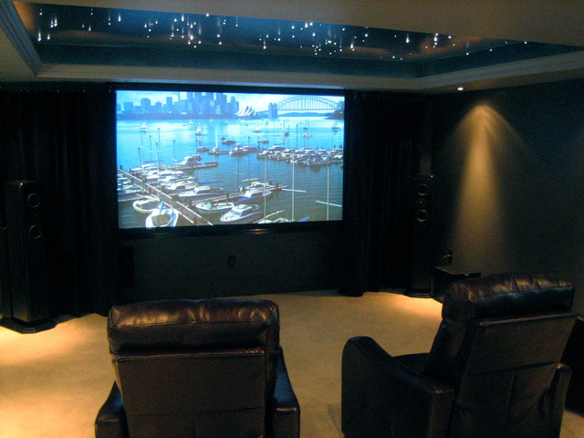 Man Cave With Projector : Theater with fiber optical ceiling modern basement