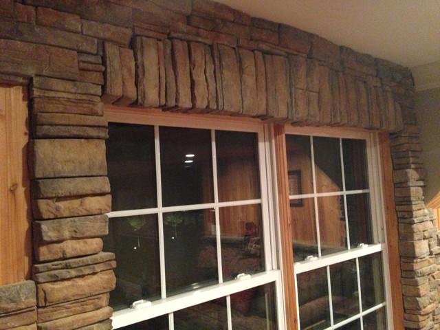 Tile/stone work traditional-basement