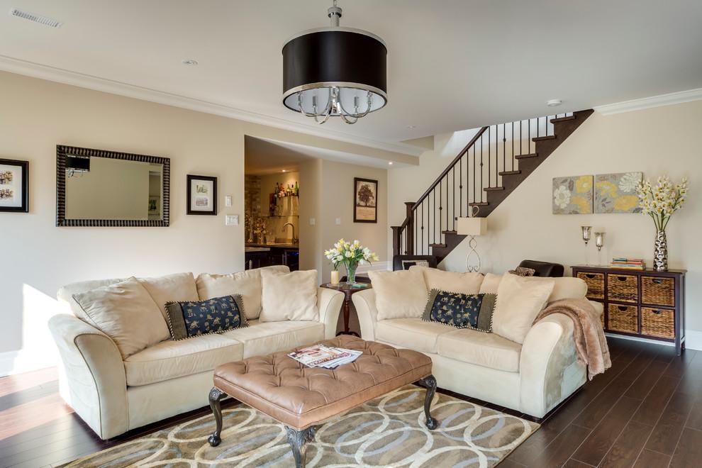 Elegant look-out dark wood floor and brown floor basement photo in Vancouver with beige walls
