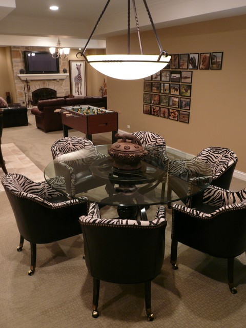 Game Table Fireplace Art Traditional Basement Chicago by