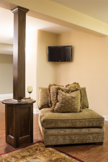 Cozy Home Theater Traditional Basement Chicago By Kristin - Basement support pole wraps