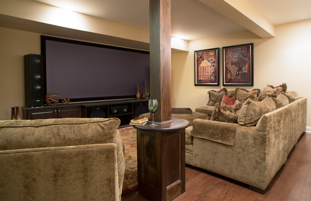 Cozy Home Theater traditional-basement