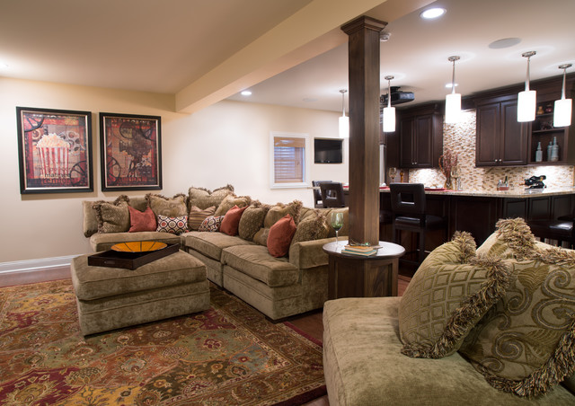 Cozy Home Theater Traditional Basement Chicago By