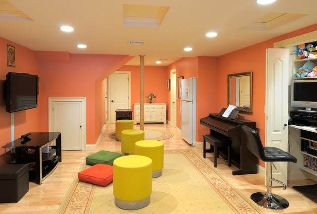 basement remodel walkout with engineered hardwood flooring recesse