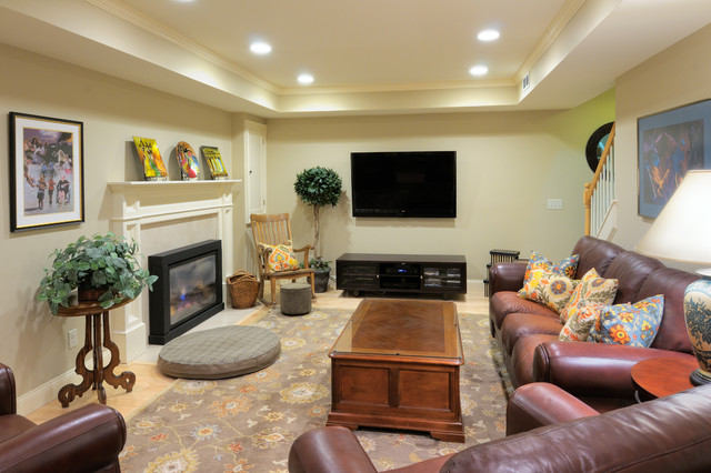 Traditional Basement Remodel with tray ceiling, engineered hardwood flooring, ga traditional-basement