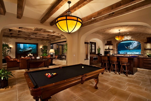adults game room pool table