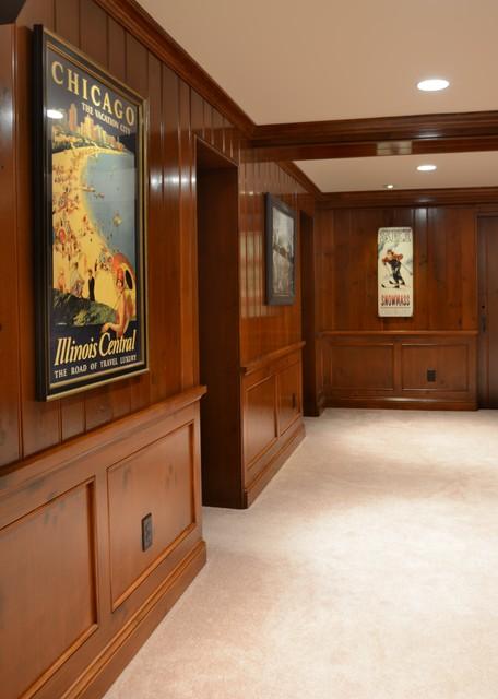 Traditional Paneled Basement Living traditional-basement