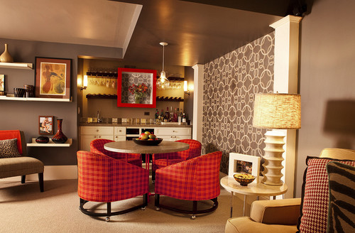 eclectic basement by portland interior designers decorators garrison hullinger interior design inc