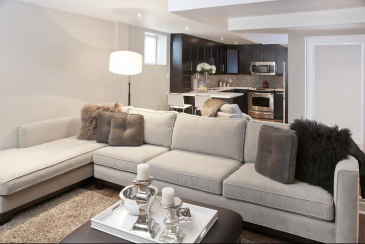 Transitional Basement Renovation In Pickering Ontario Canada Toronto By Design Line Studio Inc Houzz