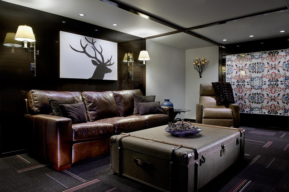 Inspiration for a contemporary underground carpeted and multicolored floor basement remodel in Other with gray walls