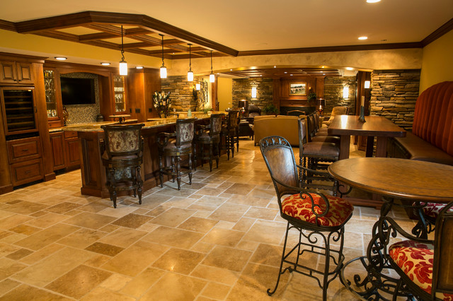 Tuscan style traditional basement detroit by for Tuscan style homes interior