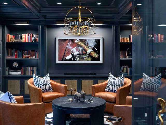 Interior Designers & Decorators. Inspiration for a large transitional underground dark wood floor and brown floor basement remodel in Chicago