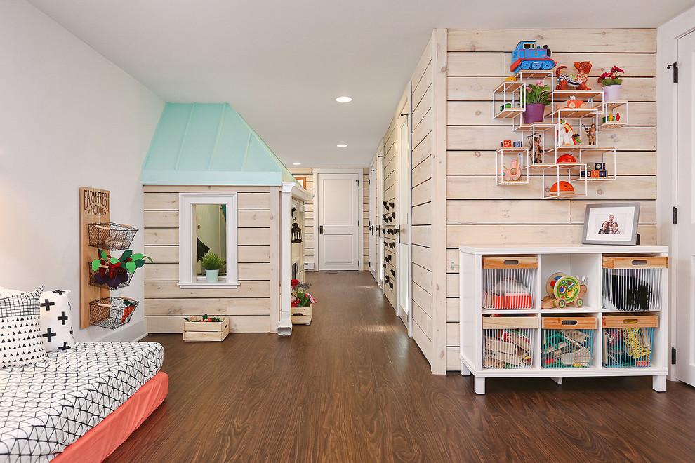 Basement - large country underground dark wood floor and brown floor basement idea in Philadelphia with white walls