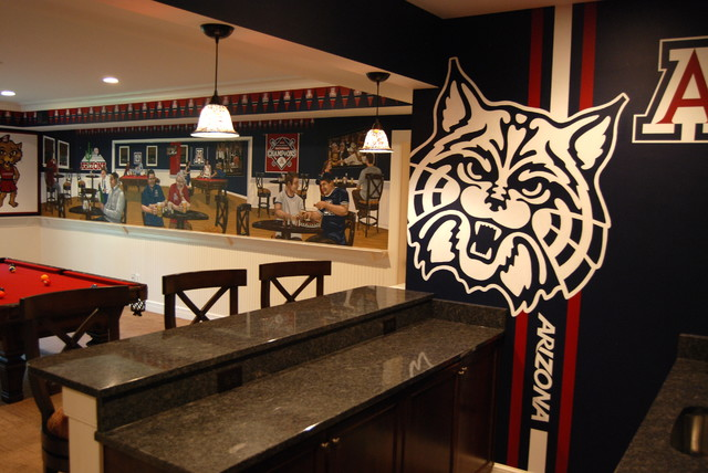 university of arizona sports bar themed mural by tom. Black Bedroom Furniture Sets. Home Design Ideas