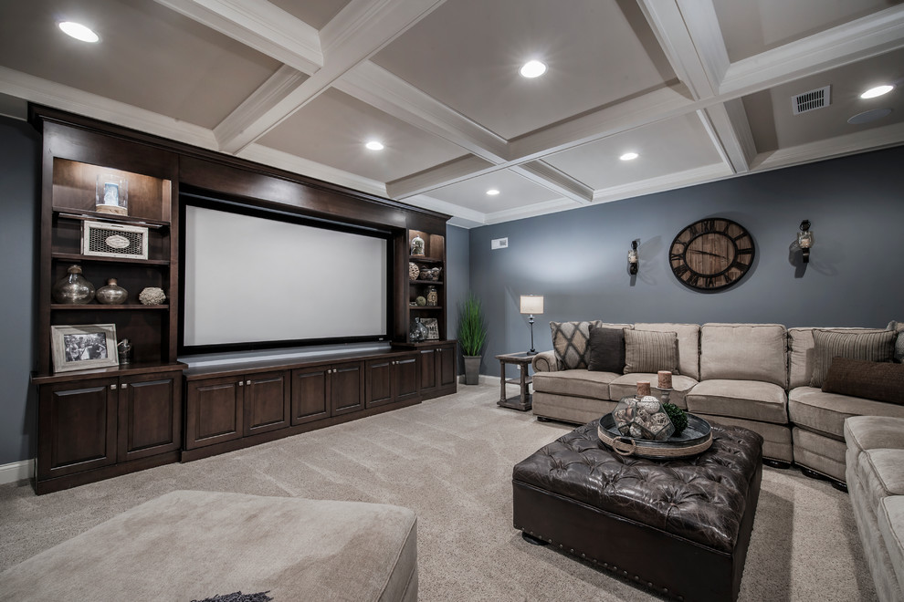 Inspiration for a transitional carpeted basement remodel in Columbus with blue walls and no fireplace