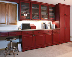 Vintage Style Craft Room Design traditional basement
