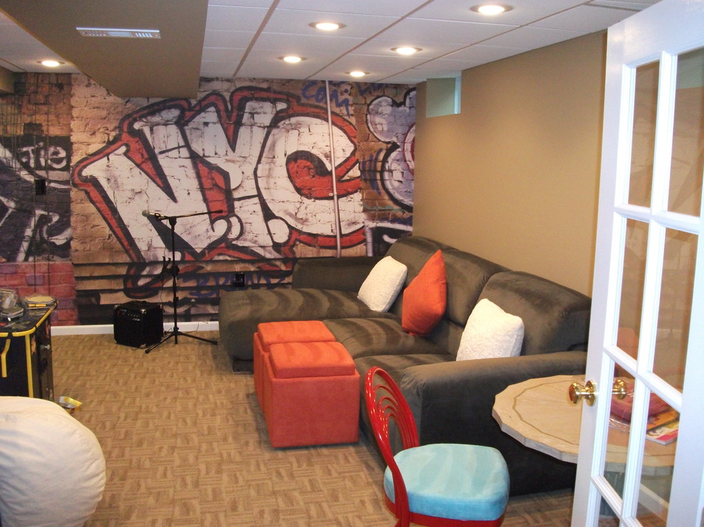 Example of an eclectic basement design in Other