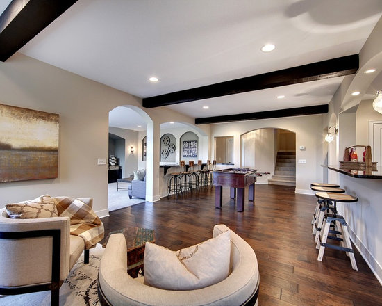 Exposed Beam Ceiling Basement Design Ideas, Pictures, Remodel & Decor