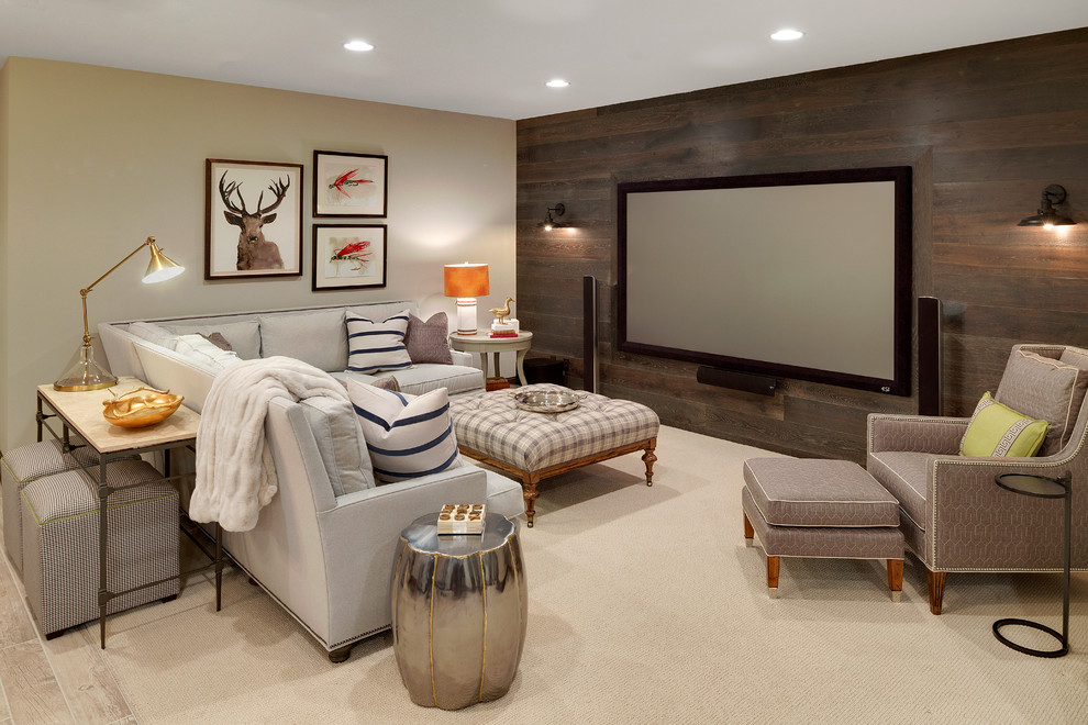 Basement - large rustic underground carpeted basement idea in Minneapolis with beige walls and a home theater