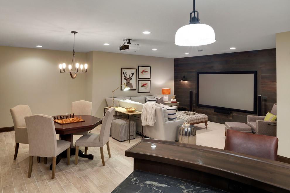 Large mountain style underground beige floor and light wood floor basement photo in Minneapolis with beige walls