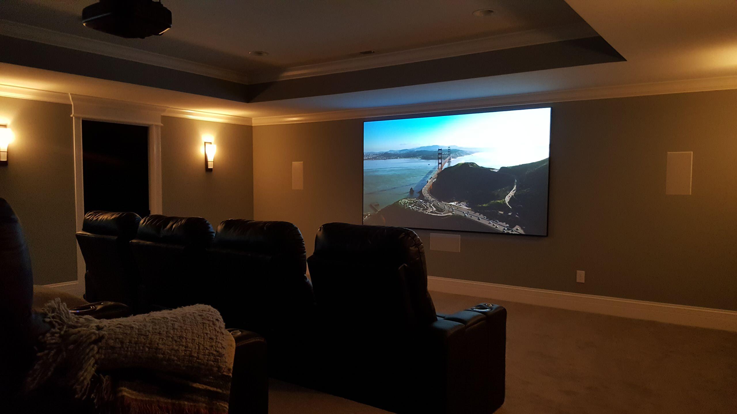 """Westfield, IN - Basement Media Room w/ 110"""" Screen"""
