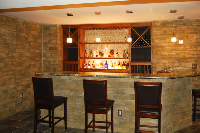 Wet bar traditional basement new york by home - Basement wet bar design ...